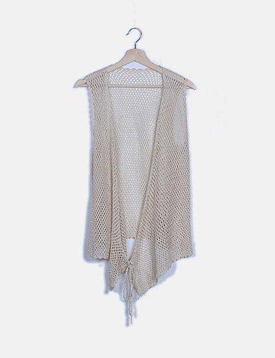 Chaleco beige crochet lace up