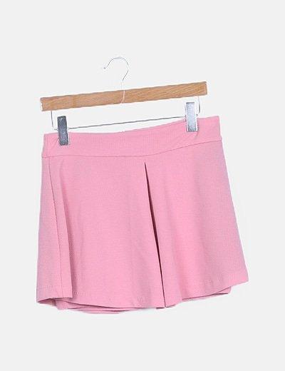 Falda mini rosa texturizada
