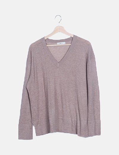 Jersey tricot beige escote pico