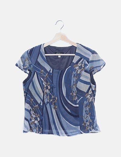 Blusa fluida azul estampada