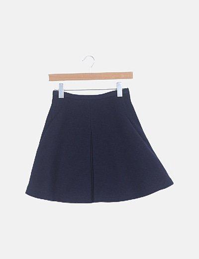 Falda azul marino de tablas