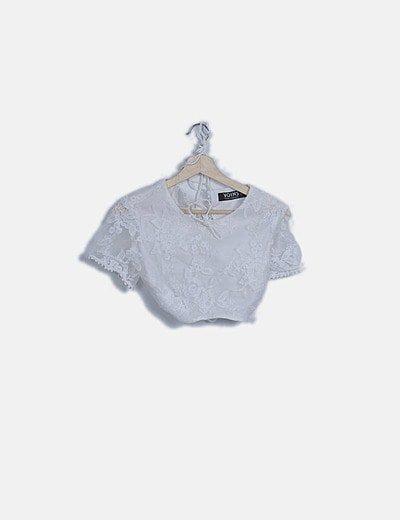 Conjunto camiseta y falda blanca crochet