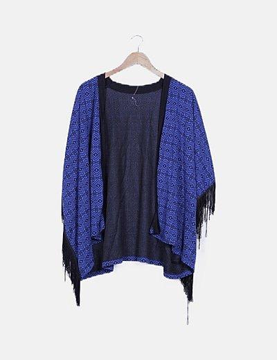Kimono azul estampado con flecos