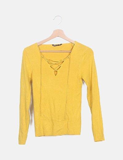 Suéter tricot amarillo lace up