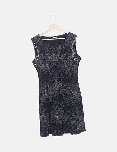 Vestido midi negro moteado