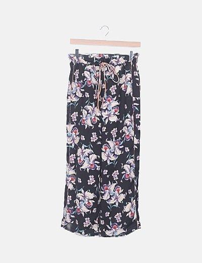 Pantalón fluido negro floral
