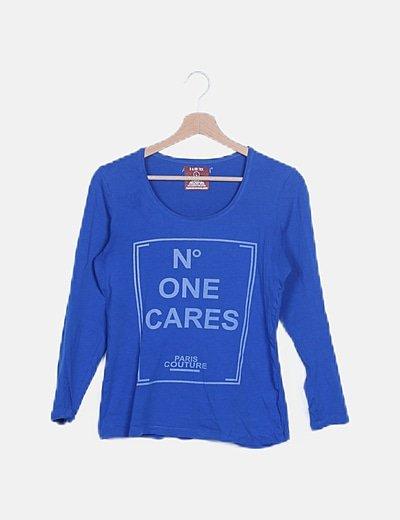 Camiseta azul electrico manga larga