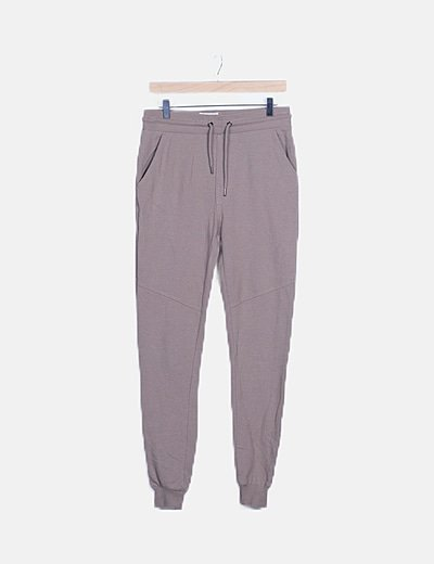 Pantalón baggy beige texturizado
