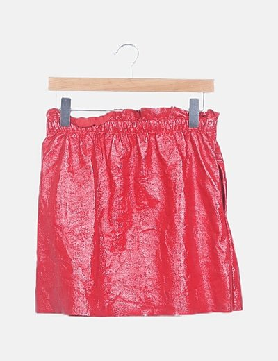 Falda mini roja polipiel