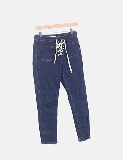 Pantalón denim lace up