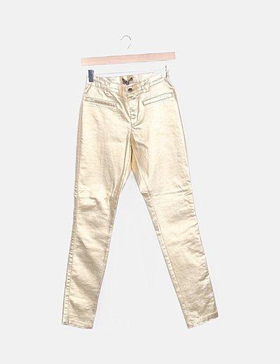 Zara Pantalon Pitillo Dorado Descuento 63 Micolet