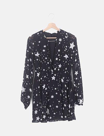Vestido mini negro estampado estrellas