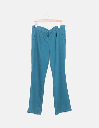 Pantalón fluido verde satinado