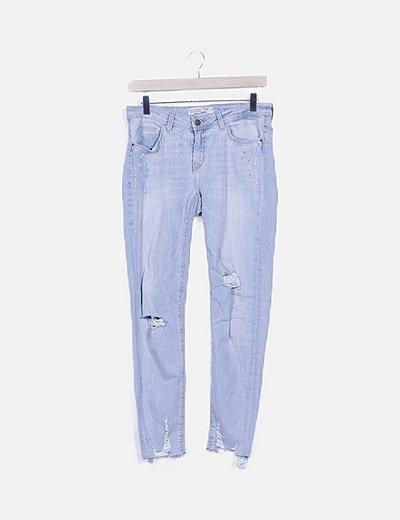 Jeans denim ripped detalle strass