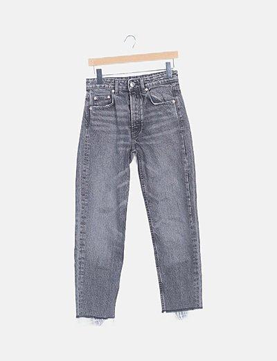 Jeans denim efecto desgastado recto