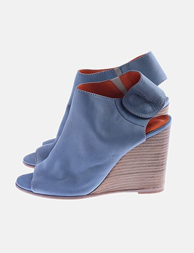 Cuña azul peep toes