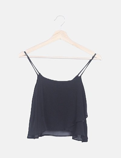 Crop top gasa negro