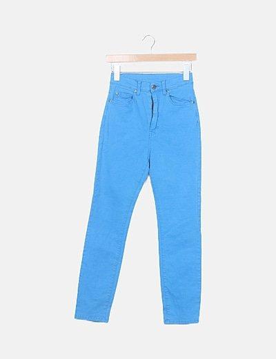 Jeans denim azul tiro alto