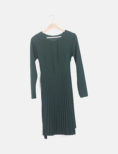 Vestido plisado verde