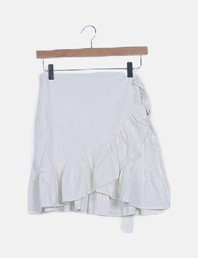 Mini falda lino blanco volantes