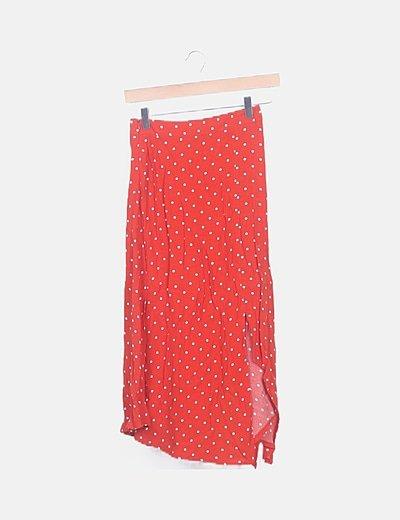Falda midi roja topos blancos