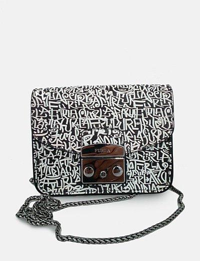 Bolso mini negro print graffitti