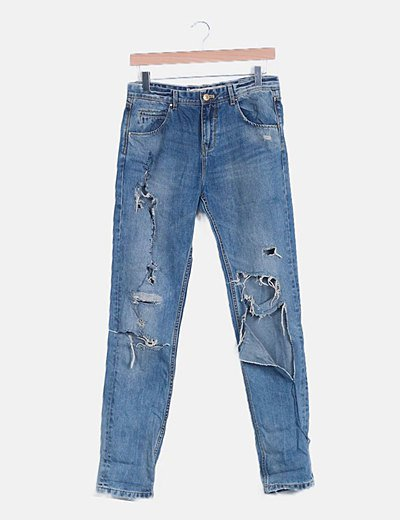 Jeans denim super ripped