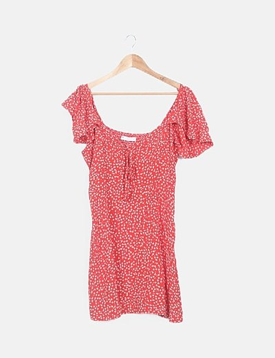 Vestido rojo floral detalle mangas y nudo