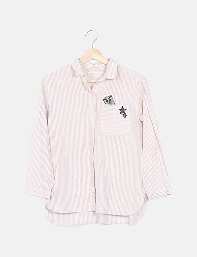 Camisa rayas glitter rose gold