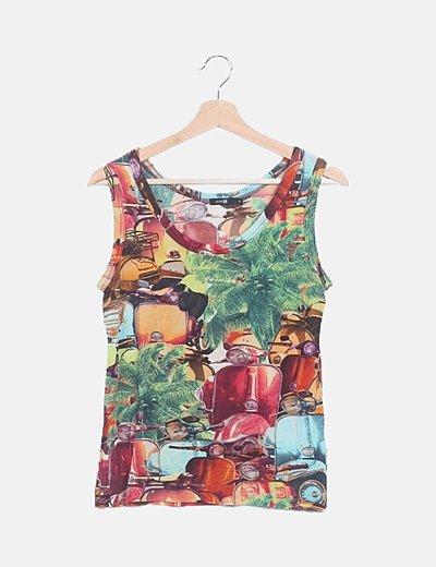 Camiseta de tirantes estampado multicolor