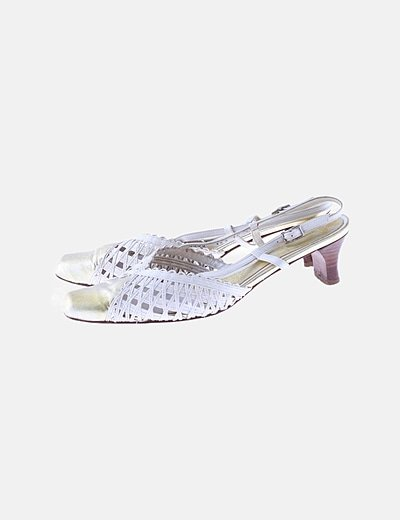 Zapato tacón combinado blanco