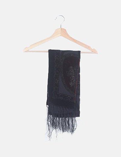 Foulard negro bordados florales velvet