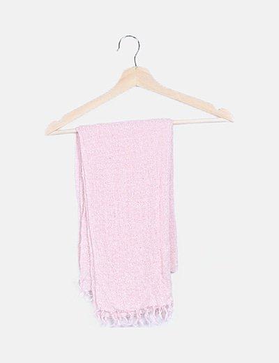 Bufanda rosa detalle flecos