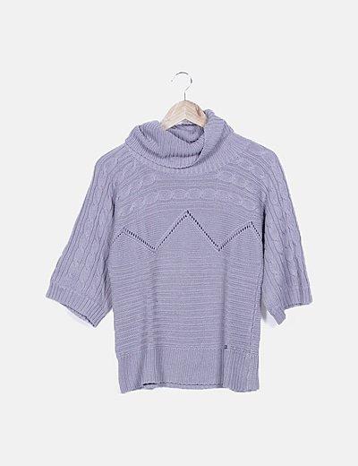 Jersey tricot gris cuello V