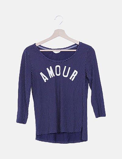 "Camiseta azul marina de motas ""Amour"""