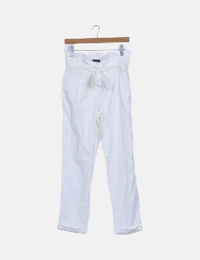 Pantalón blanco paperbag