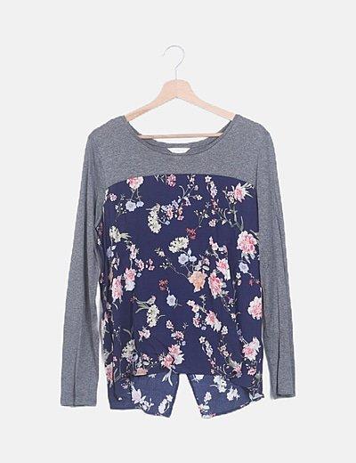 Blusa gris marengo combinado floral