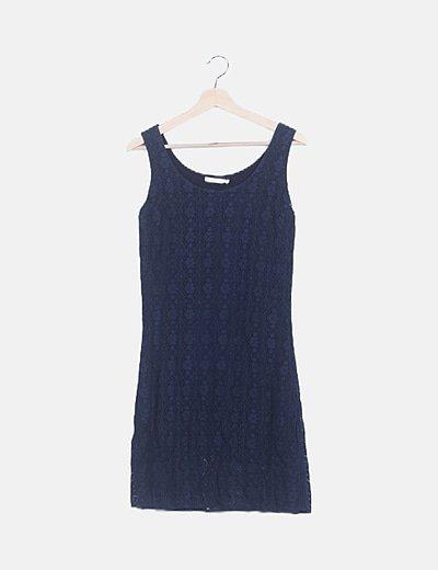 Vestido azul marino crochet