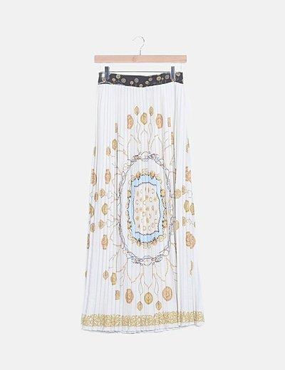 Falda plisada estampado vintage