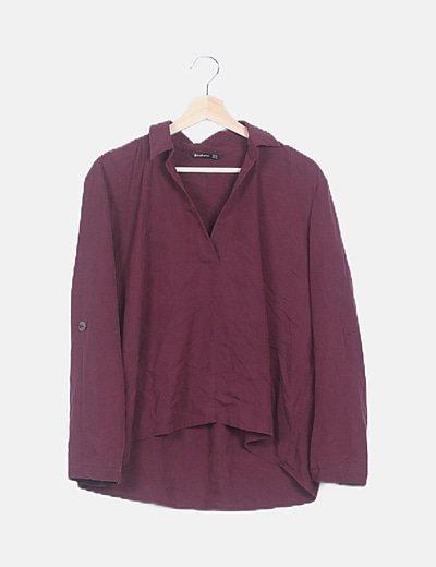 Blusa burdeos manga larga