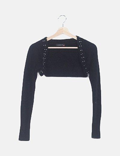 Torera tricot negra con strass