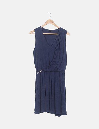 Vestido azul marino detalle dorado