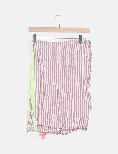 Foulard rayas rosa detalles fluor