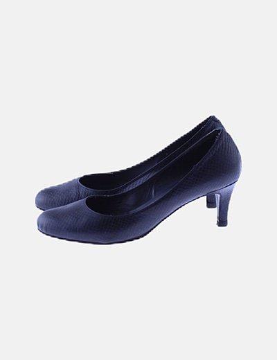 Zapato tacón texturizado azul marino