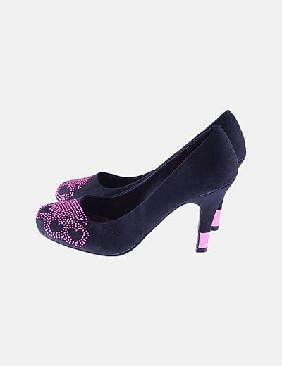 Zapatos negros strass rosa