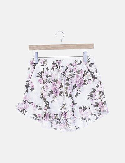 Short blanco estampado floral
