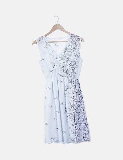 Vestido vaporoso azul claro estampado floral