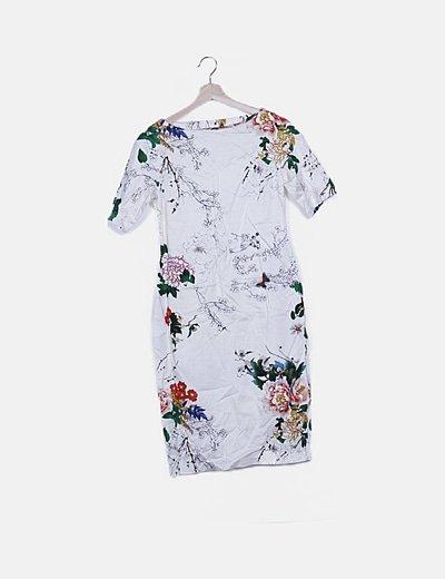 Vestido tubo beige estampado floral