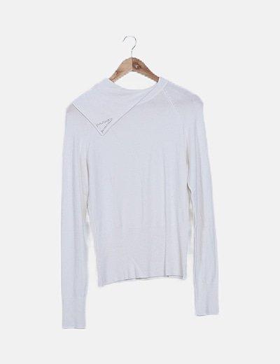 Jersey tricot cuello vuelto crudo