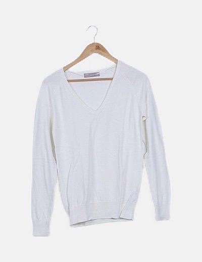Jersey tricot blanco escote pico
